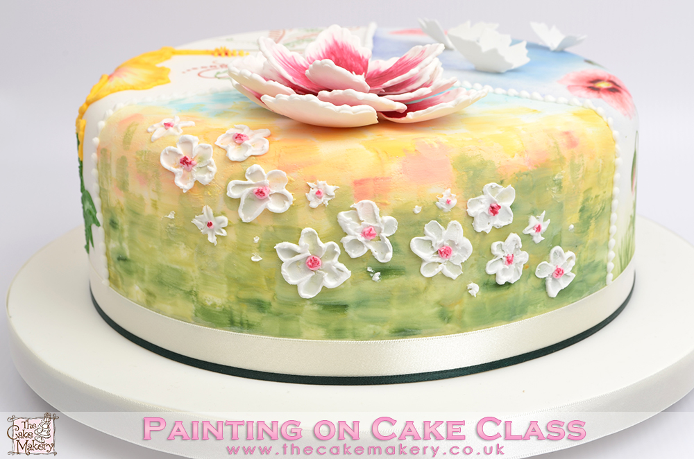 the cake makery painting on cake